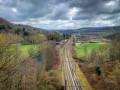 Vue sur le chemin de fer à Chaudfontaine